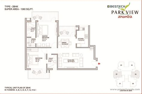 2bhk floor plan bestech park view ananda sector 81 gurgaon