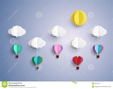 Air Balloon Origami - air balloon in a shape stock photo image