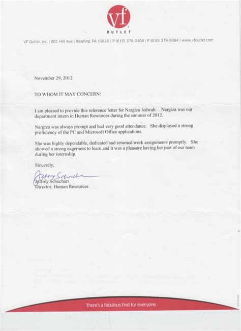 Recommendation Letter Human Resources Reference Letter Hr Vf Outlet
