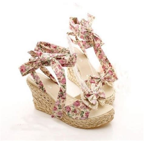 Floral Duvet Shoes Wedges Cute Cute High Heels Floral Girly