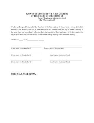 Usa Notice Of Directors Meeting Form Legal Forms And Business Templates Megadox Com Waiver Of Notice Of Board Meeting Template