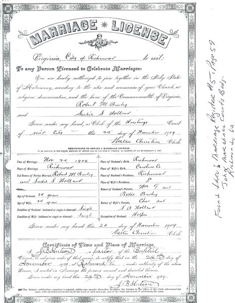 Richmond Va Marriage Records Burley Family Marriage Records
