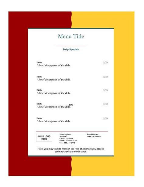 download free restaurant menu templates