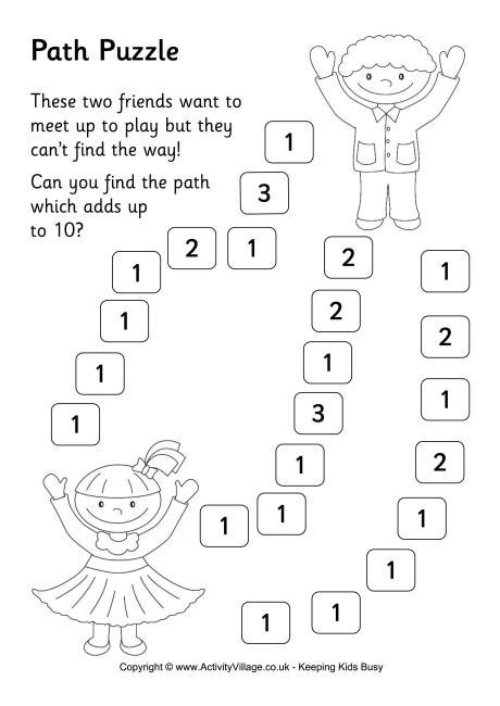 Path Puzzle 1 - Addition to 10