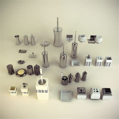 set bathroom accessories 3d max