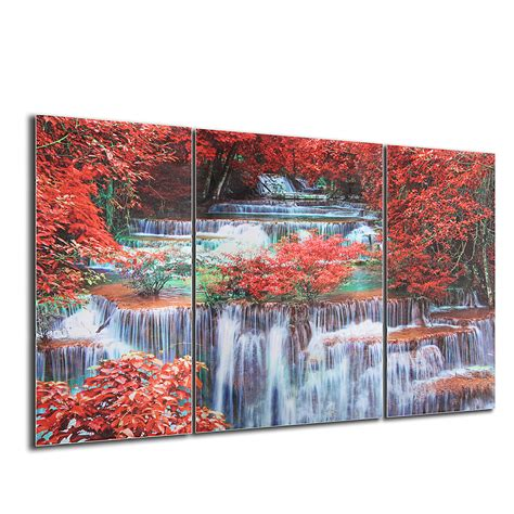 waterfall home decor triptych frameless canvas prints wall art picture mangrove