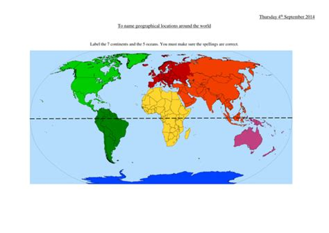 printable world map ks1 continents and oceans by lisahoward teaching resources tes