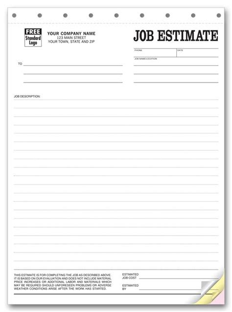 Printable Blank Bid Proposal Forms Printable Quote Template Free Job Estimate Forms Middot Bid Card Template