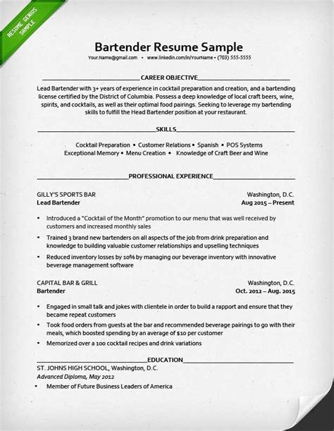 Teaching Resumes Samples by Great Bartender Resume Best Resume Gallery