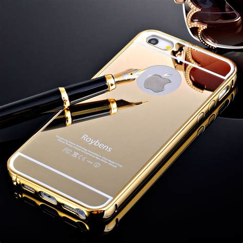 Mgaluminum Bumper With Mirror Back Cover For Iphone 66s T1310 aluminium bumper with mirror back cover for iphone 5c