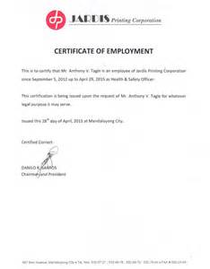 Certification Of Employment Letter Format Certificate Of Employment And Training Certificates