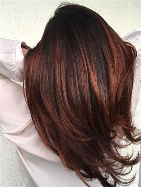 brunette hairstyles with copper highlights red highlights ideas for blonde brown and black hair