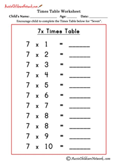 multiplication worksheets table of 7 multiplication times tables worksheets aussie childcare