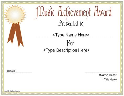 templates for music awards education certificates music acheivement award