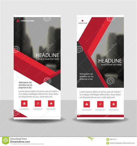 red triangle roll up business brochure flyer banner design