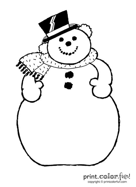 snowman coloring page print color fun