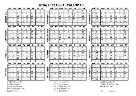 2016 fiscal year calendar usa 08 free printable templates