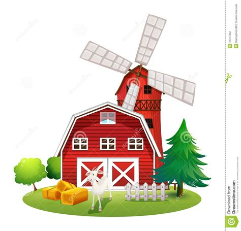 Barnhouse by A Farm With A Red House And A Windmill Stock Vector
