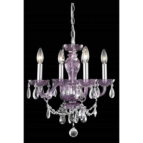 Elegant Lighting Princeton 4 Light Royal Crystal Purple Chandeliers