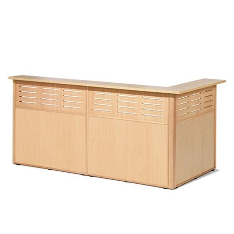 L Shaped Reception Desk Counter L Shape Reception Counter L H 3 Sections 2490x1290x1200 Mm Beech Aj Products Ireland
