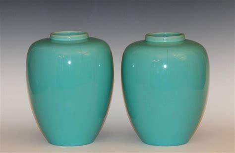 Aqua Vases For Sale by Pair Of Deco Awaji Pottery Jar Vases Aqua Glaze
