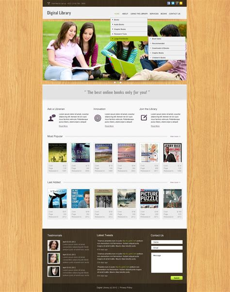 templates for library website library website template 39937