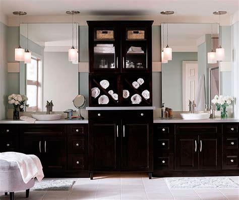 master bathroom vanities java cherry cabinets in a contemporary bathroom masterbrand