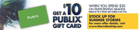 Can You Get Cashback With A Publix Gift Card - 10 publix gift card with the stock up for summer storms promo