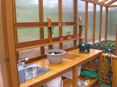 potting bench for greenhouse cedar greenhouse with potting bench by jhtuckwell gardentenders com gardening