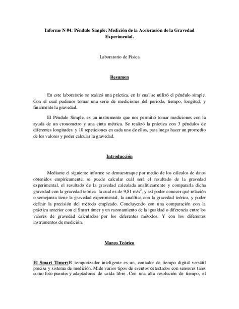 Informe n°4 péndulo simple (Laboratorio de Física)