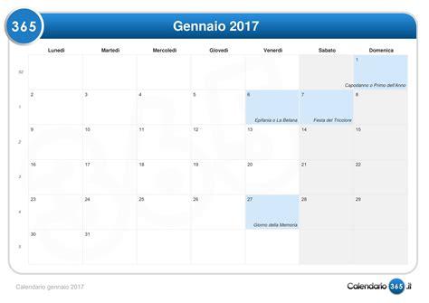 calendario con settimane calendario gennaio 2017