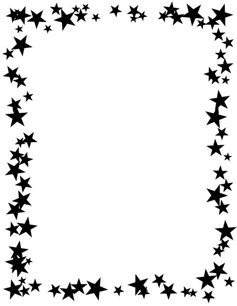 printable star frames free printable star border black and white high