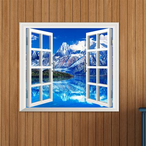 home wall decor stickers iceberg view 3d artificial window view 3d wall decals room