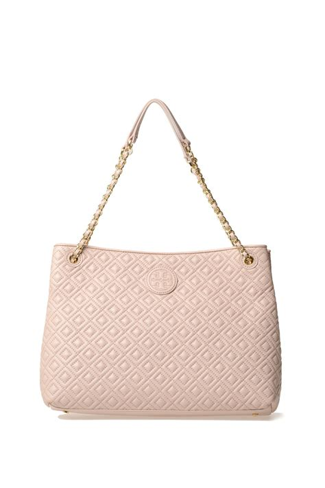 burch leather bag burch quilted soft leather bag in pink lyst