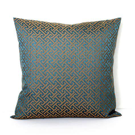 decorative teal bronze key throw pillow accent cushion