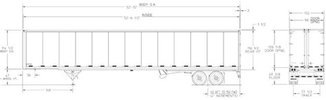 floor length of typical 3 trailer 53 foot tractor trailer dimensions pictures to pin on