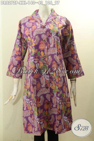 Batik Dress Jumbo Wanita model baju batik dress jumbo pakaian batik modis lengan 3