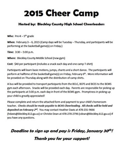 Bleckley Progress Forms Cheerleading Registration Form Template