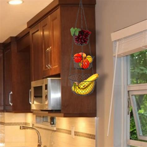 hanging storage kitchen hanging kitchen storage helpful hanging iarts 3 tier hanging fruit vegetable kitchen storage metal