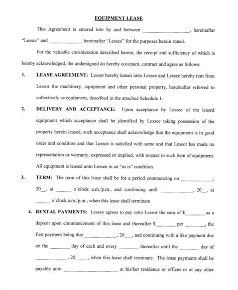 printable equipment lease agreement printable blank lease agreement form 17 free word pdf