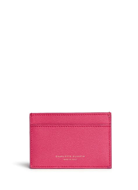 Card Holder Pink olympia feline cat leather card holder in