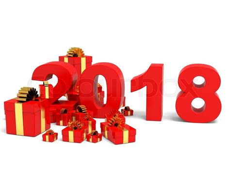 new year gifts 2018 happy new year 2018 with gifts on white backgriund 3d