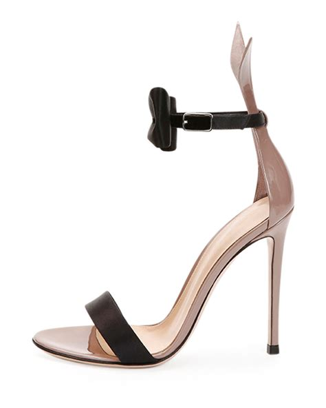 bow tie sandals lyst gianvito bow tie ankle bunny sandal in