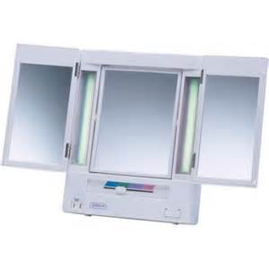 Makeup Mirror With Lights And Magnification Jerdon Tabletop Tri Fold 2 Sided Lighted Makeup Mirror