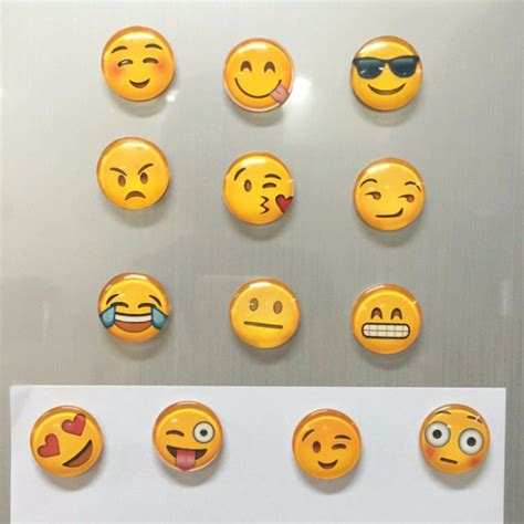 1 pcs cute round cartoon smile emoji face refrigerator