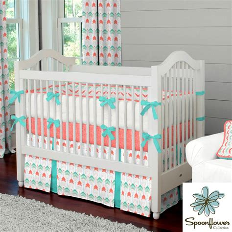 Coral And Teal Bedding Sets Coral And Teal Arrow Crib Bedding Carouseldesigns For Grant Marygrace New House