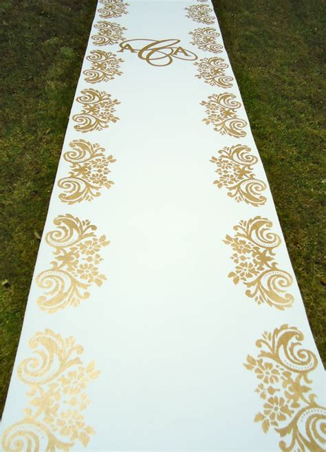 Wedding Aisle Runner Gold by Gold Stenciled Runner Painted Aisle Runners