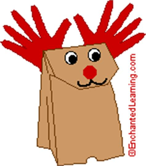 Paper Bag Reindeer Craft - animal crafts enchantedlearning