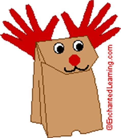 printable reindeer paper puppet animal crafts enchantedlearning com