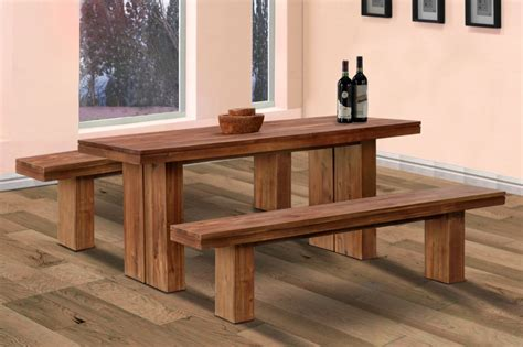 Wooden Bench For Dining Room Table Simple Wooden Dining Table Decobizz